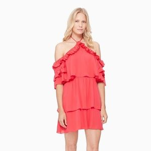 Parker Lorenzo hot pink off shoulder ruffle dress